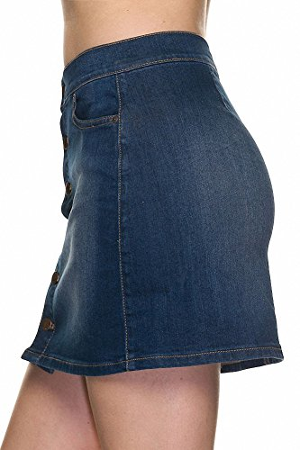 Sassy Apparel Women's Button Down A-line Mini Denim Skirt (Dark)