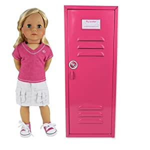 18 Inch Doll Clothes Locker fit for American Girl Doll Bed Rooms & More! 18 Inch Doll Furniture of Pink Metal Doll Locker