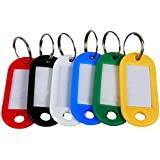 "Leegoal 20 Key Tags with Label Window, Plastic, 2"" x 7/8"", Assorted Colors"