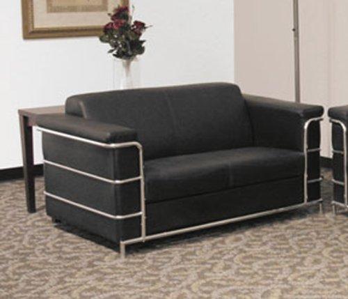 Buy Low Price Regency Contract Black Leather Loveseat (B002PNH8KA)