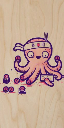 """""""Octosushi"""" Funny Japanese Octopus Chef Cutting Tentacles Making Sushi - Plywood Wood Print Poster Wall Art front-745239"""