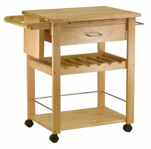 Winsome- Beechwood Kitchen Cart With Wine Rack