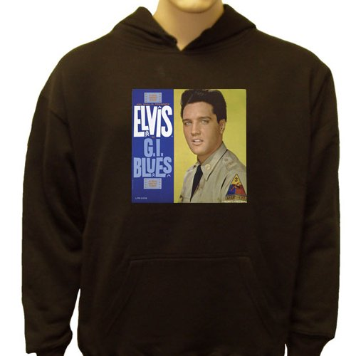 Elvis Presley G.I. Blues Sweatshirt, Men'S Elvis Presley Signature Hoodie, X-Large, Navy