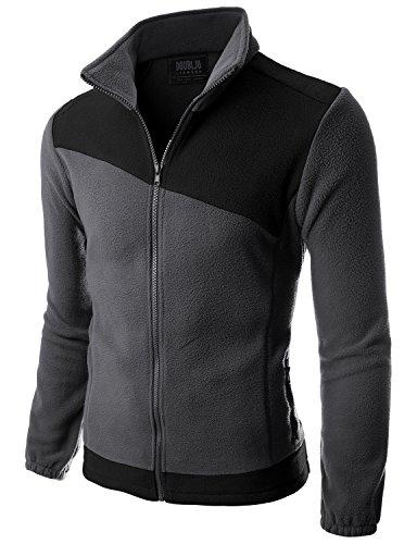 Doublju Mens Long Sleeve Colorblocked Fleece Zip-Up Jacket ...