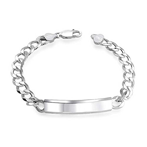 NYC Sterling .925 Sterling Silver Italy Curb Chain Link 180 Gauge Mens Id Bracelet (8 Inches) (Stainless Steel Baby Bracelet compare prices)