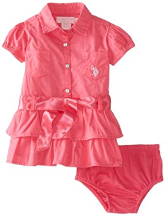 U.S. Polo Assn. Baby-Girls Newborn Double Ruffled Dress with Bow Tied Sash Belt, Pink, 6-9 Months