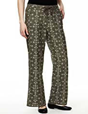 Pure Linen Floral Wide Leg Beach Trousers