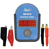 Supco MFD10 Digital Capacitor Tester with LED Display, 0.01 to 10000mF Range, +/- 5% Accuracy