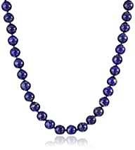 Sterling Silver 8mm Lapis Lazuli Bead Necklace, 24″