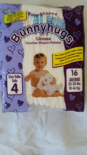 Disposable Baby Diapers Great Value Size 4 -128 count. Super absorbent diapers keeps babies dry and comfortable. Great value. Superb inner leg cuff leak control. Bunny Hugs has Green packaging. - 1
