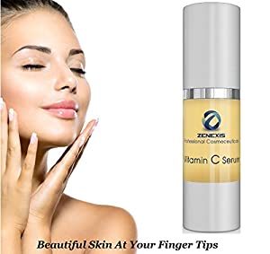 Vitamin C Serum - 1.5 Fl Oz - ZENEXIS Skin Care Products - The Best in Facial Toners, Exfoliators, Acid Peels - Faster Results Than Day and Night Creams - Leaves Your Skin Radiant and Youthful - Remove Acne Scars, Age Spots, Dark Circles Under Eyes, Crows