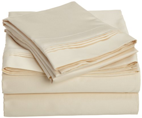 Egyptian Cotton 1000 Thread Count Oversized Full Sheet Set Solid, Ivory