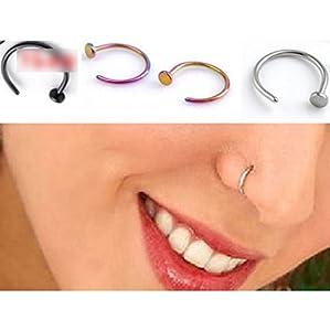 HuaYang Stilvoll Edelstahl Nase Stud Nase Öffnen Hoop Ring Ohrring 2 Stück (Silber)