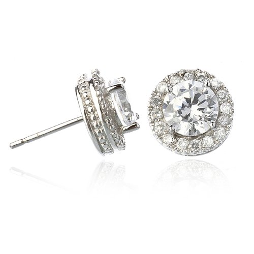 7 mm Stud Earring with White CZ Around