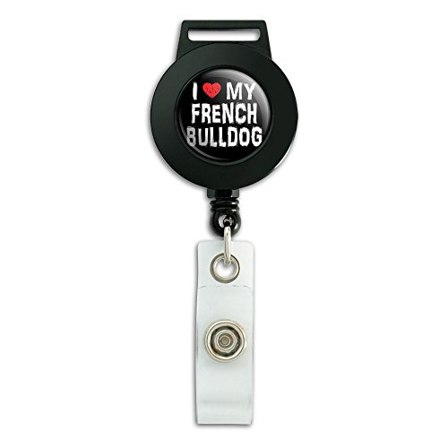 I Love My French Bulldog Stylish Lanyard Retractable Reel Badge ID Card Holder (French Bulldog Lanyard compare prices)