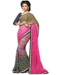 AG Lifestyle Multi Faux Georgette & Jacquard Pallu Saree With Unstitched Blouse ELG8024