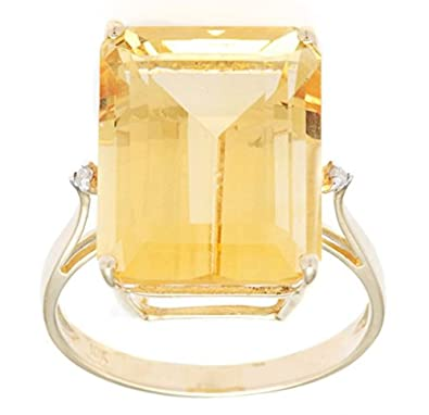 10k Yellow Gold Emerald Cut Citrine and Diamond Ring