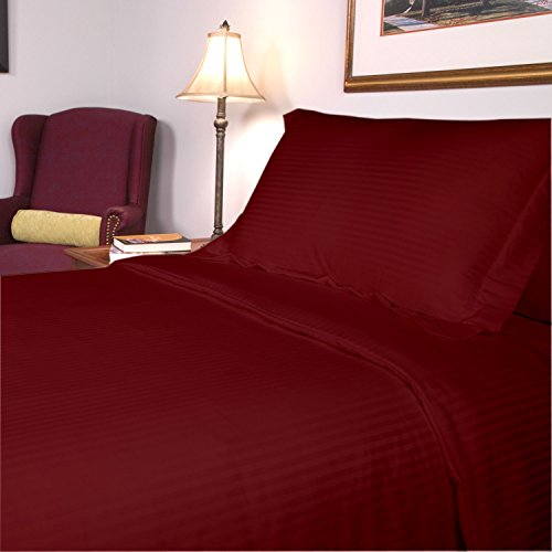 Congo Linen 450 Italian Finish Egyptian Cotton Luxurious Sheet Set 450 Tc Stripe (Short Queen , Burgundy)