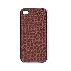 Crocodile Patterns Faux Leather Coated Plastic Back Case for iPhone 4 4G