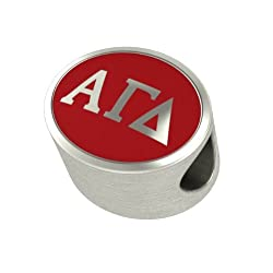 Alpha Gamma Delta Enameled Sorority Bead Charm Fits Most European Style Bracelets. High Quality Bead in Stock for Fast Shipping