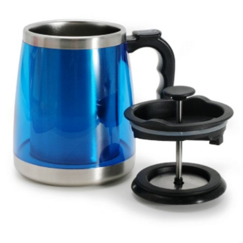 Danesco Double Walled Coffee Mug with French Press (Blue)