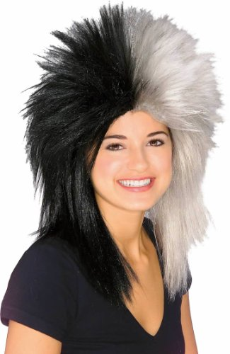 Rubie's Costume Black and Silver Sports Fan Wig, Black/Silver, One Size - 1