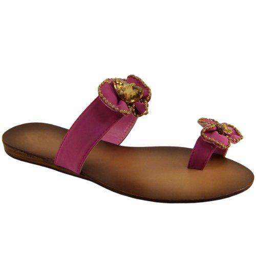 Womens Pink Flower Design Flip Flop Sandals