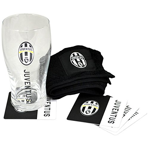 juventus-fc-official-wordmark-football-bar-set-pint-glass-towel-beer-mats-one-size-black-white
