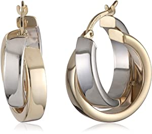 Duragold 14k Yellow and White Gold Crossover Hoop Earrings