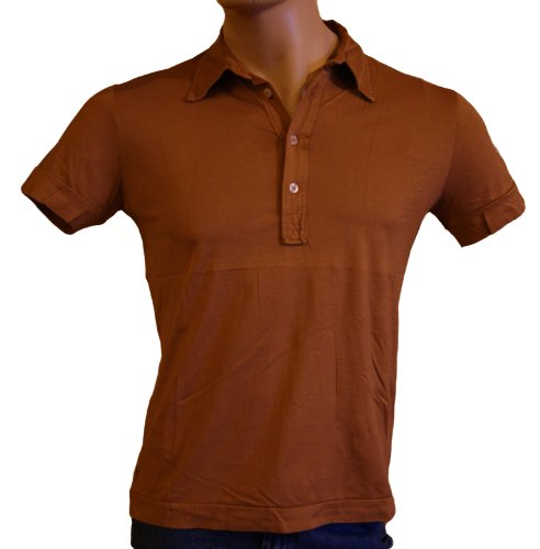 Original Vintage Style, Mens brown cotton short sleeved Polo Shirt Size M/UK 40