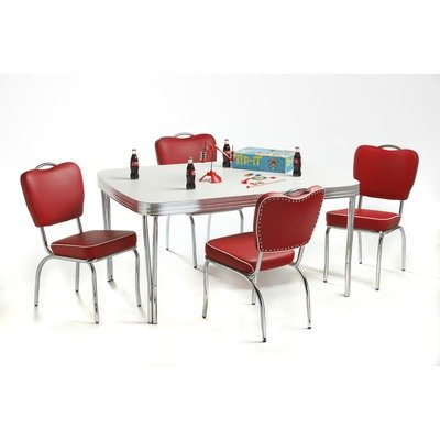 Cheap Retro Dining Set In Bright Chrome Vinyl Omni Scarlet Shoppin