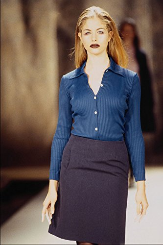 709094-ally-capellino-blue-ribbed-sweater-and-gray-skirt-a4-photo-poster-print-10x8