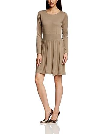More & More Damen Strick Kleid 41013701, Knielang, Einfarbig, Gr. 40, Braun (nut melange)