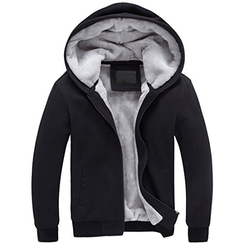 Mens Winter Thicken Warm Outerwear Hoodie (Large, Black)
