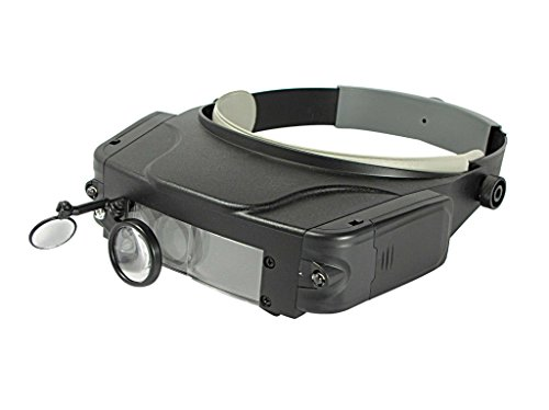 SE MH1049LC Illuminated Multi-Power Head Magnifier with Mirror Attachment - 1