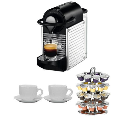 Nespresso C60USSSNE Pixie Espresso Maker (Chrome) + Nifty 40 Capsule Coffee Carousel + Accessory Kit