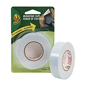 Duck Brand Removable Foam Mounting Tape, 0.75-Inch x 60 Inches, Single Roll, White (1129541)