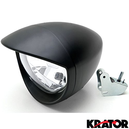 Krator® Universal Motorcycle Headlight Lamp Light Black Custom Cruiser Touring Chopper for any Harley, Honda, Yamaha, Suzuki, Kawasaki, Custom Bike, Cruiser, Choppers (Motorcycle Chopper Headlight compare prices)