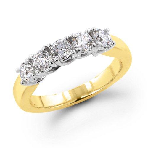 14K Yellow Gold 1/2 ctw. Five - Stone Diamond Wedding / Anniversary Band (I-J;I1-2) Size 9