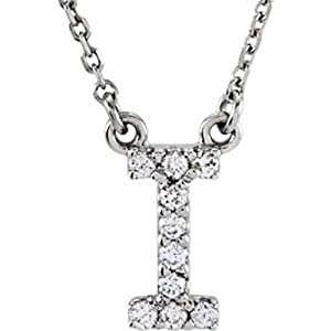 IceCarats Designer Jewelry 14K White Gold 14K White Letter I 1/10 Ctw Diamond 16 Necklace 16.00 Inch