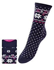 3 Pairs of Freshfeet™ Cotton Rich Fair Isle Socks with Silver Technology