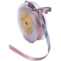 May Arts 3/8-Inch Wide Ribbon Light Blue and Pink Satin