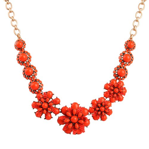 Orange-red Necklace, Chunky Necklace, Daisy Necklace, Bib Necklace (Fn0559) (B)