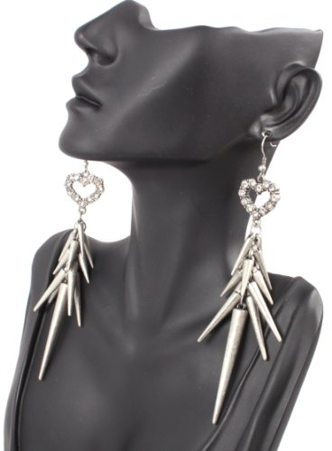 Silver Iced Out Lady Gaga Poparazzi Heart Earrings with Spikes Light Weight Basketball Wives
