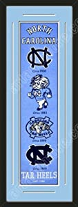 Heritage Banner Of North Carolina Tar Heels With Team Color Double Matting-Framed... by Art and More, Davenport, IA