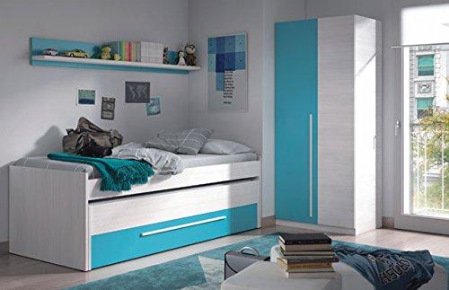 Dormitorio juvenil en color blanco y azul
