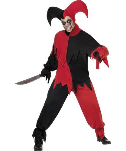 Herrenkostüm Kostüm für Herren Dunkler Narr rot schwarz Narrenkostüm Halloween Fasching Karneval rotes schwarzes Dark Jester Clown Clowkostüm Todesclown Joker Narren Hofnarr Horror Alptraum Gr. 48/50 (M), 52/54 (L), Größe:L