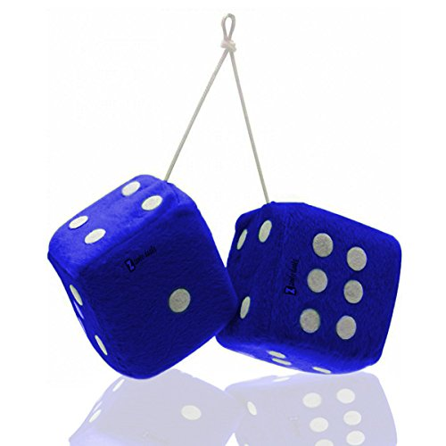 Zento Deals 3″ Blue Fuzzy-soft Dice with White Dots – two Pair