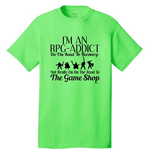 Rpg Gamer Addict On The Road To Recovery Game Shop Neon T-Shirt X-Large Neon Green