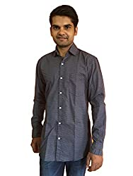 Maclavaro Men's Casual Printed Shirt_9starprnt_Blue_L